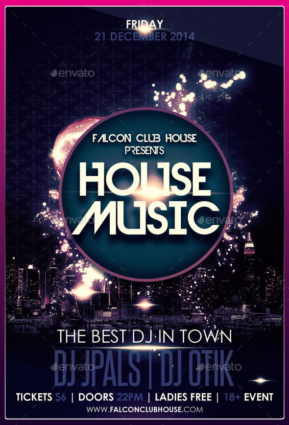 House Music Party Flyer By Falconlabdesigns | Graphicriver