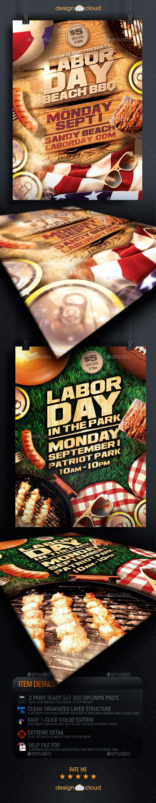 Labor Day Beach and Park Party Flyer Template Duo - Holidays Events