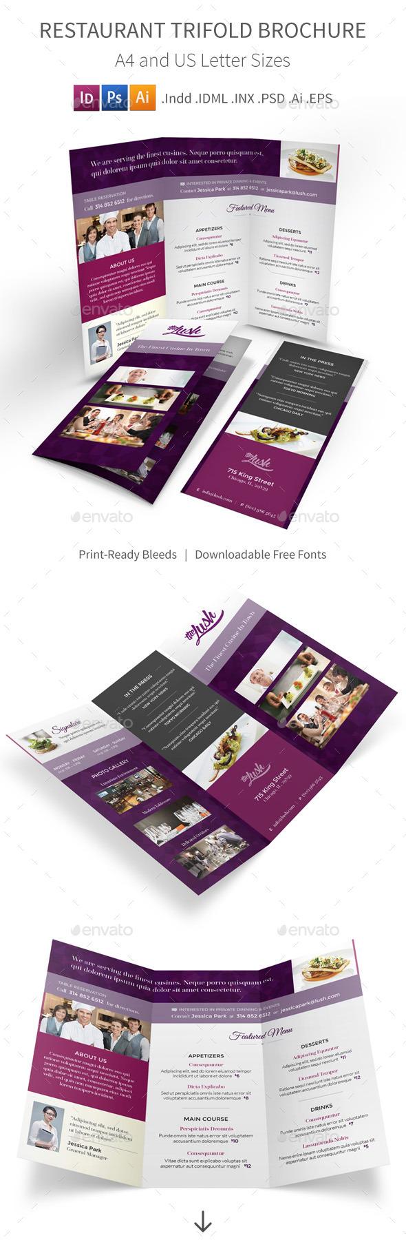 Restaurant Trifold Brochure - Informational Brochures