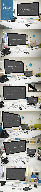 Computer Mockup 7 Poses - Multiple Displays