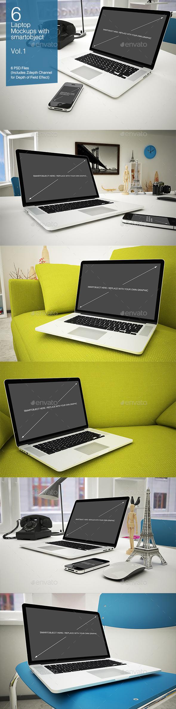 Laptop Mockup 6 Poses - Vol.1 - Laptop Displays