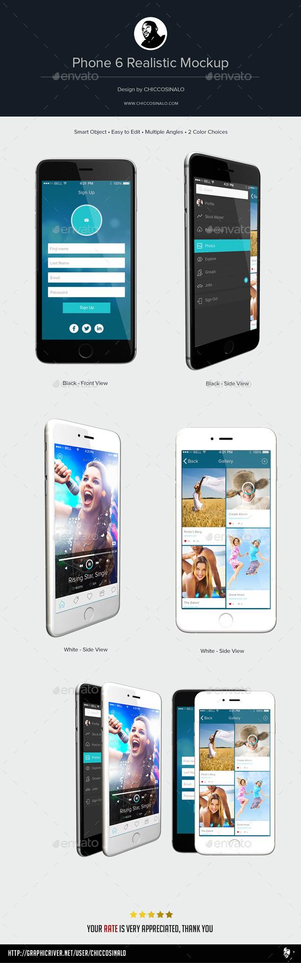 Phone 6 Realistic Mockup - Mobile Displays