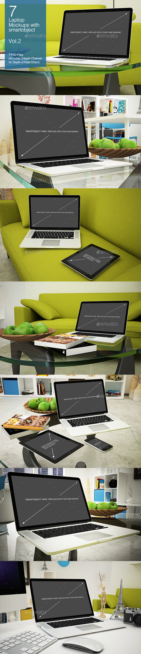 Laptop Mockup 7 Poses - Vol.2 - Laptop Displays