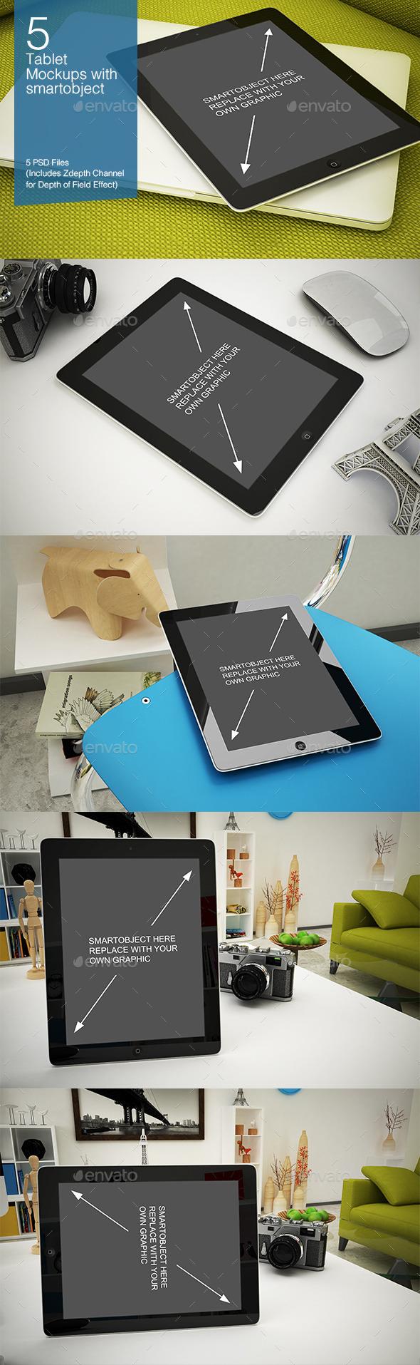 Tablet Mockup 5 Poses - Mobile Displays
