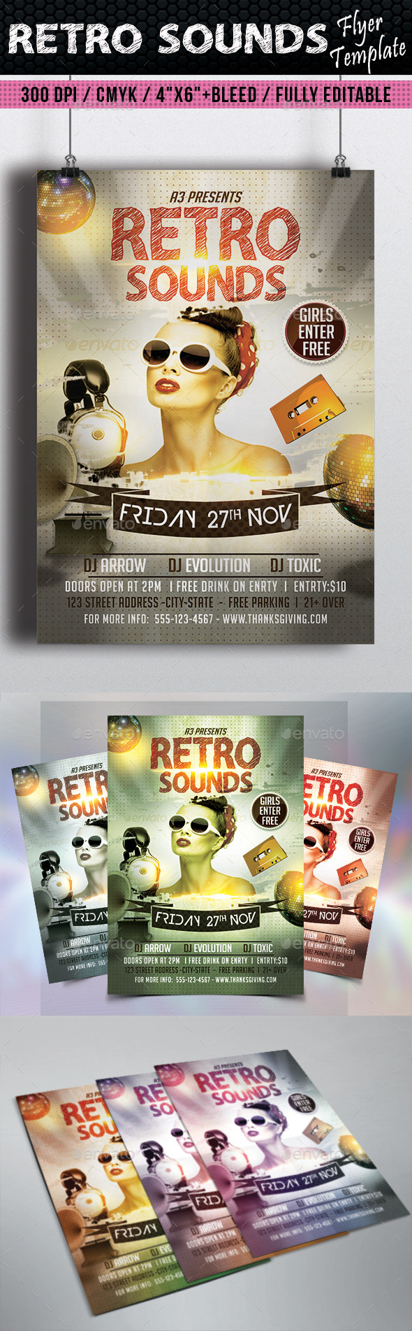 Retro Sounds Flyer Template - Clubs & Parties Events