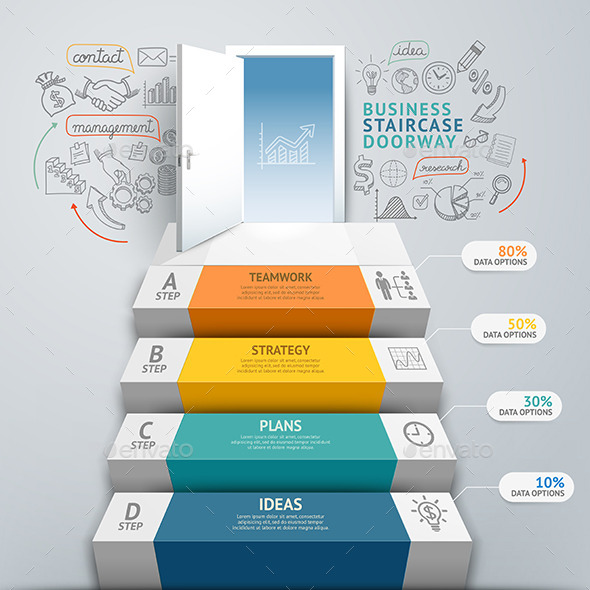 Business Staircase Doorway Conceptual Infographics - Infographics