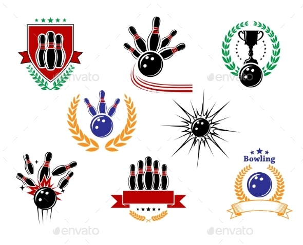 Set of Colored Bowling Emblems and Badges - Sports/Activity Conceptual