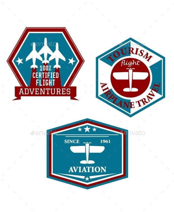 Aviation and Tourism Emblems - Travel Conceptual