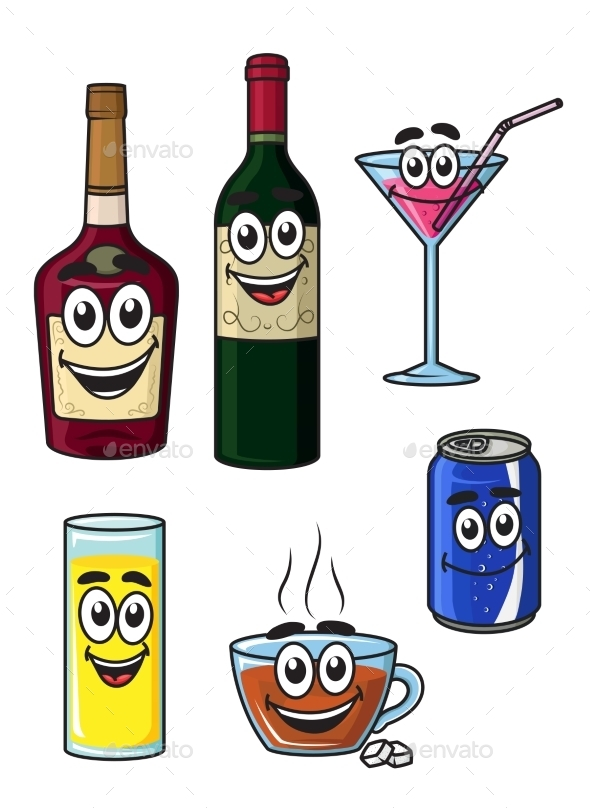 Beverages Cartoons - Food Objects