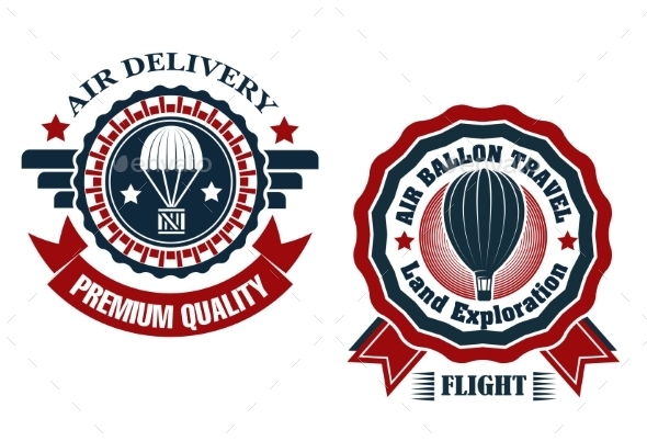 Air Delivery and Hot Air Balloon Badges - Travel Conceptual