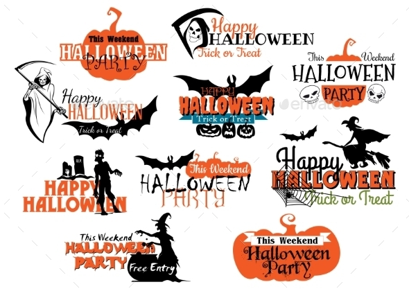 Set of Happy Halloween Designs - Halloween Seasons/Holidays