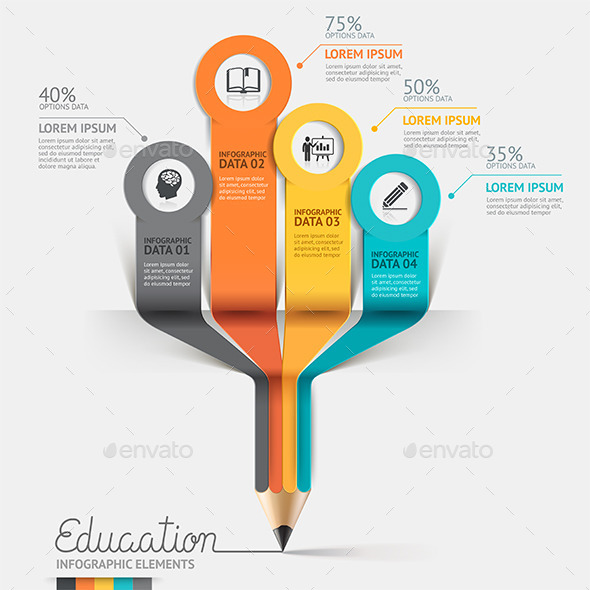 Education Pencil Step Option Infographics - Infographics