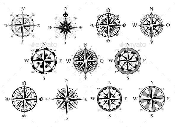 Antique Compasses Symbols Set - Travel Conceptual