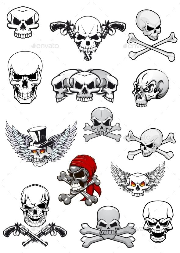 Vector Skull Characters with Crossbones - Tattoos Vectors