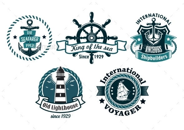 Nautical Themed Emblems or Badges - Travel Conceptual