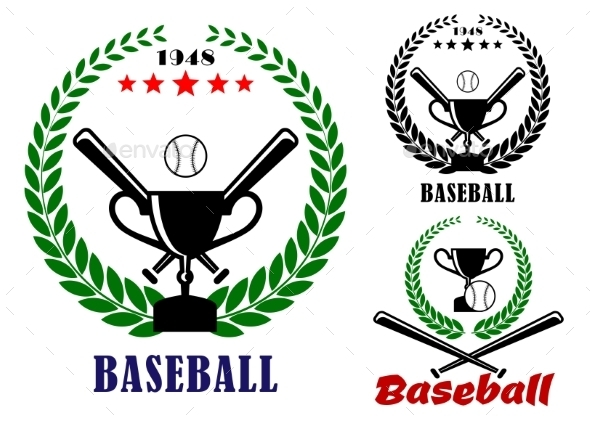 Baseball Badges or Emblems - Sports/Activity Conceptual