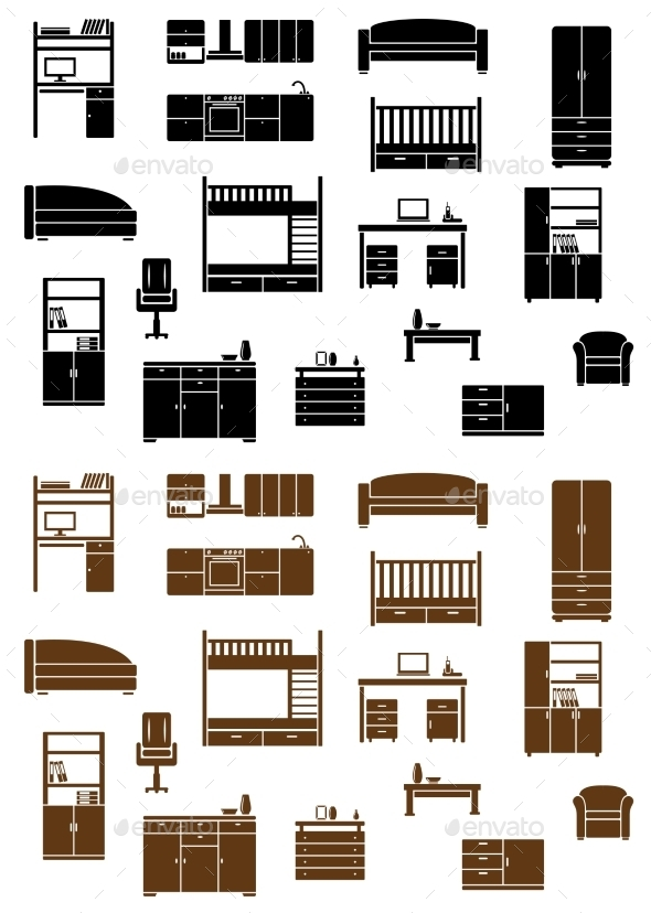 Set of Flat Furniture Icons - Man-made Objects Objects