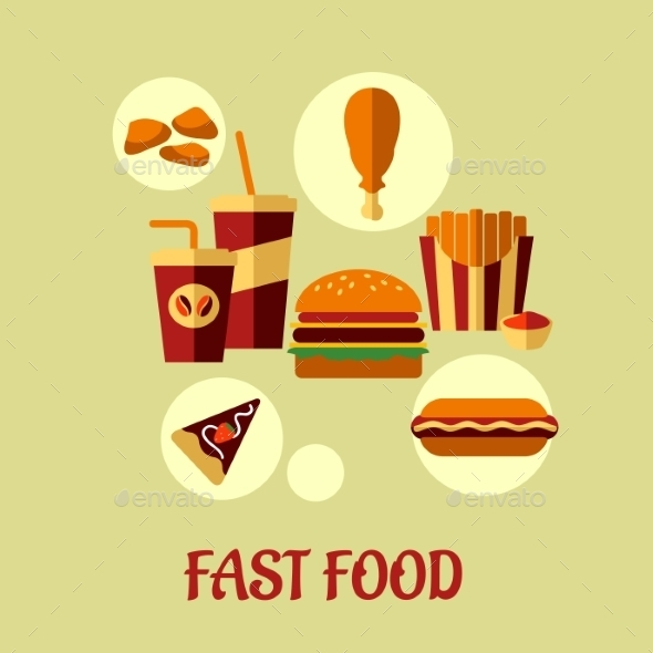 Fast Food Flat Poster Design - Food Objects