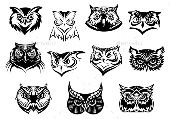 Set of Owl Heads - Animals Characters