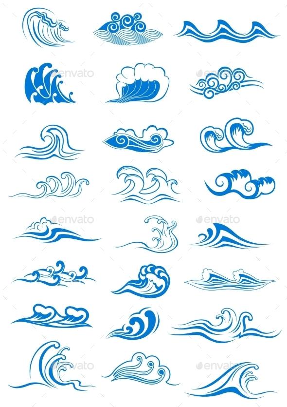 Blue Ocean Waves Set - Nature Conceptual