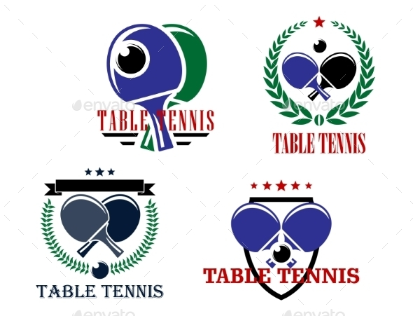 Table Tennis Emblems - Sports/Activity Conceptual