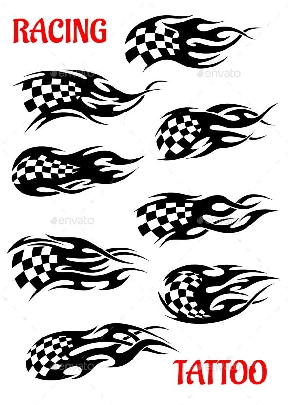 Set of Motor Racing Vector Tattoos - Tattoos Vectors