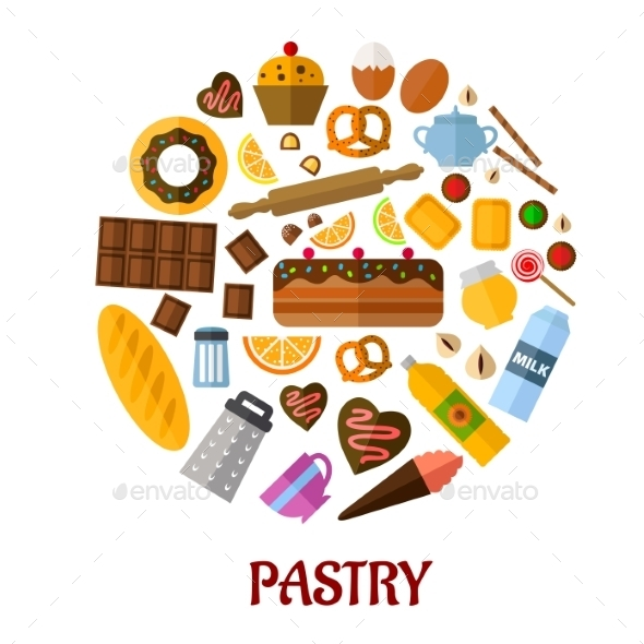 Pastry Flat Vector Icons - Food Objects