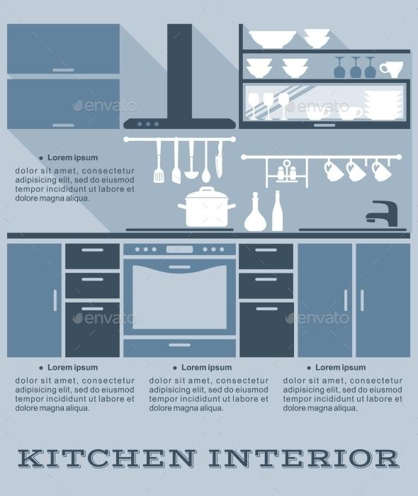 Kitchen Interior Flat Design - Miscellaneous Vectors