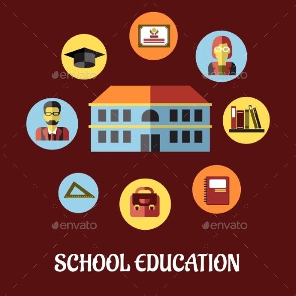 School Education Flat Design - Conceptual Vectors