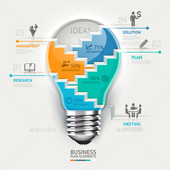 Business Lightbulb Infographics Template. - Infographics