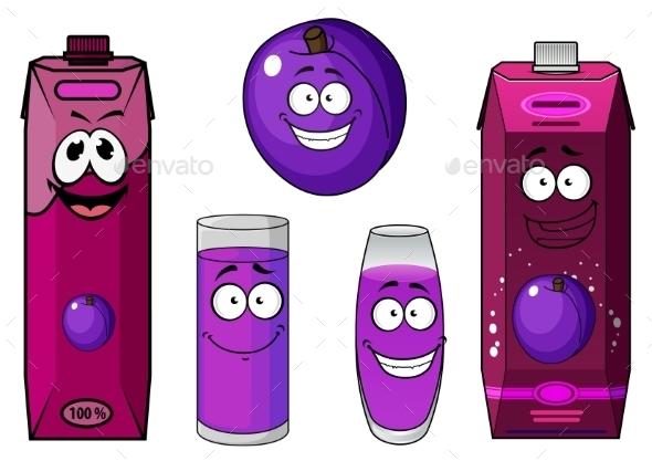Cartoon Juice Drinks - Food Objects