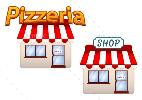 Cartoon Shop and Pizzeria Icons - Retail Commercial / Shopping