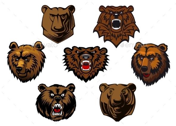 Bear Head Set - Animals Characters
