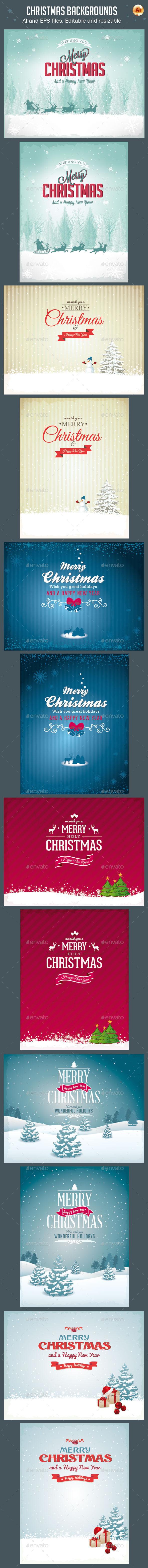 Vector Christmas Backgrounds Vol.2 - Christmas Seasons/Holidays