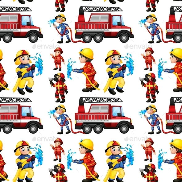 Seamless Firefighters - People Characters