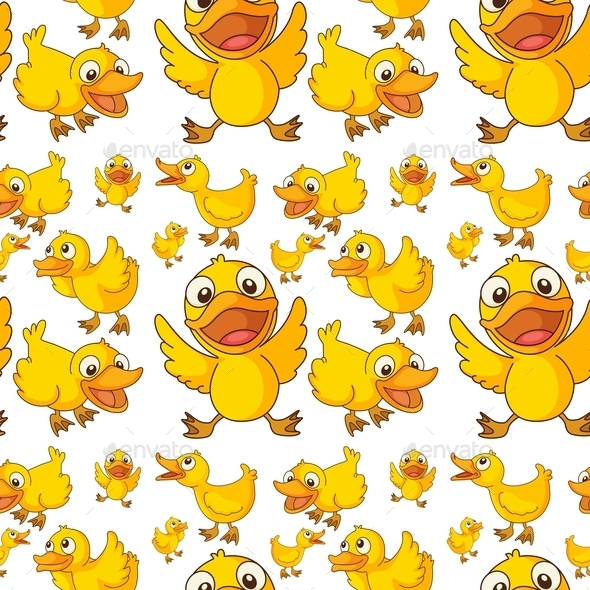 Seamless Design of Ducklings - Animals Characters