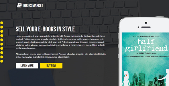 Books Market - Creative Landing Page Template - Landing Muse Templates