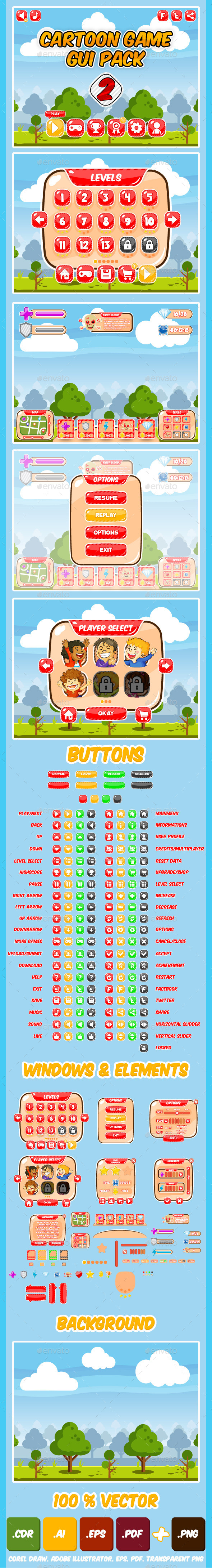 Kids Game UI Kit Pack 2 - Game Kits Game Assets