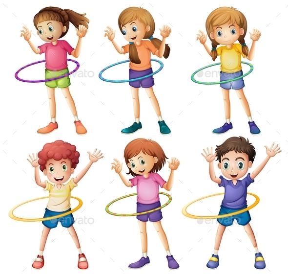 Kids playing Hulahoop - People Characters