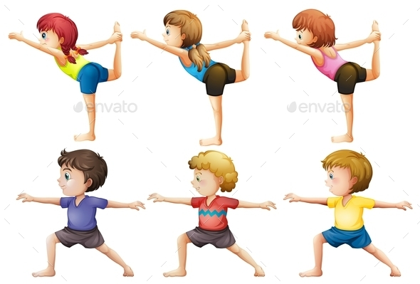 Girls and Boys doing Yoga - People Characters