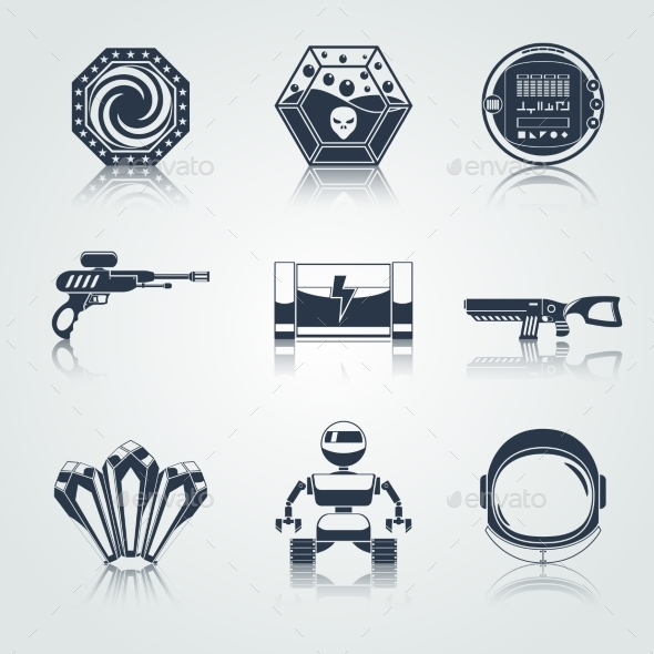 Space Game Icons Black - Web Elements Vectors