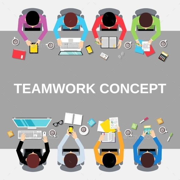 Teamwork People Top View - Concepts Business