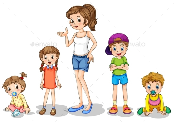 Mother with Children  - People Characters