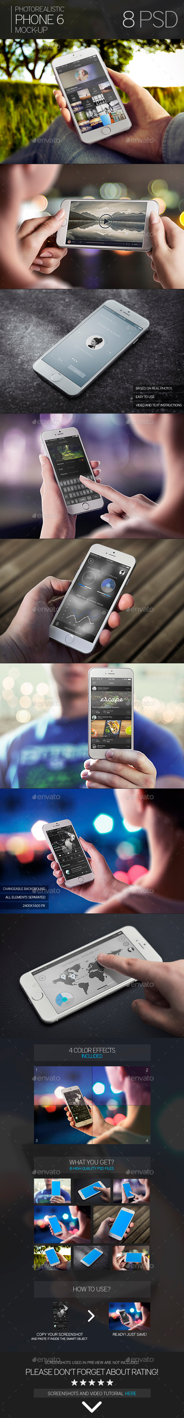 Photorealistic Phone 6 Mock-Up - Mobile Displays