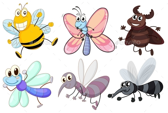 Six Flying Insects  - Animals Characters