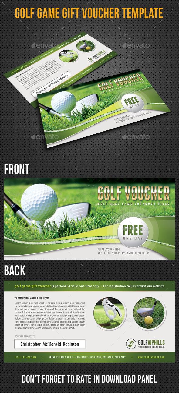 Golf Game Gift Voucher V03 - Cards & Invites Print Templates