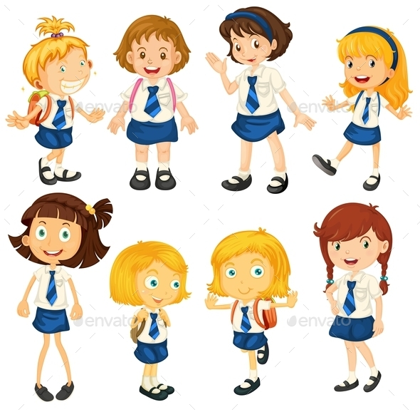 Eight Schoolgirls in their Uniforms - People Characters