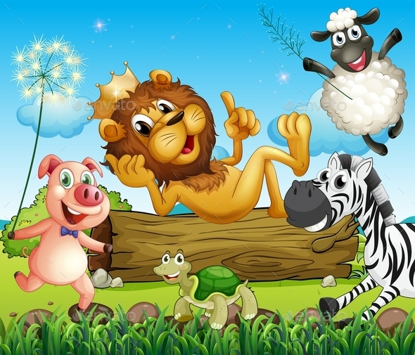 King Lion surrounded by Animals - Animals Characters