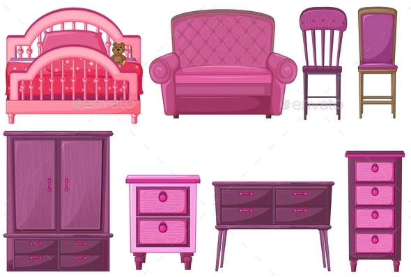 Furniture in Pink  - Man-made Objects Objects