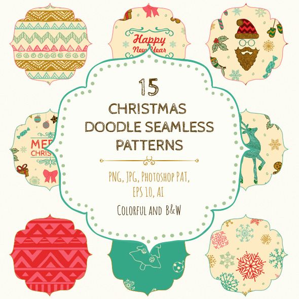 15 Christmas Seamless Patterns - Add-ons